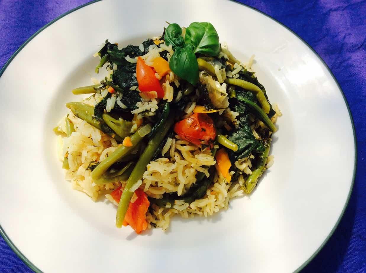 בסיר אחד,  אורז בירקות,  או ירקות באורז