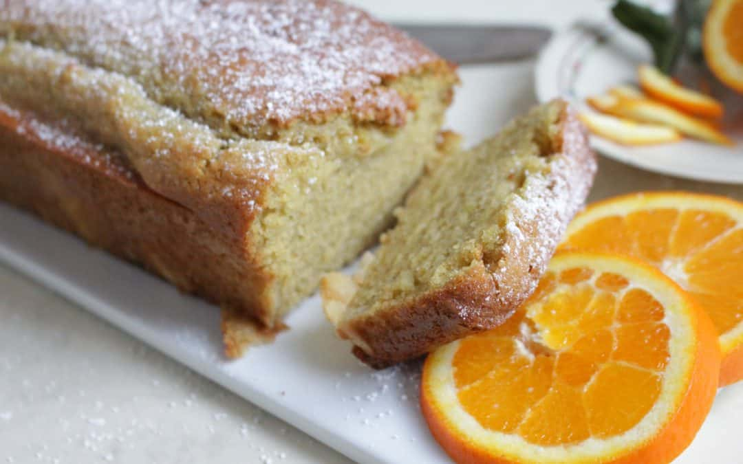 עוגת תפוזים טבעונית – מקמח כוסמין מלא, שקדים ויוגורט סויה