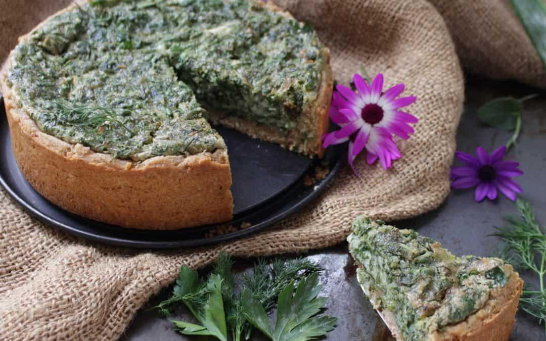 קיש (טארט) עשבי תיבול וקרם שמנת טבעוני ומשגע, ללא סויה, הבצק עשוי כוסמין מלא