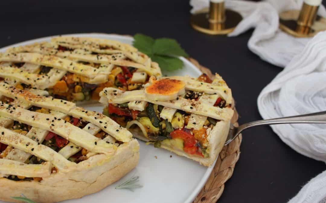 פאי ירקות מקושט, צבעוני וטבעוני