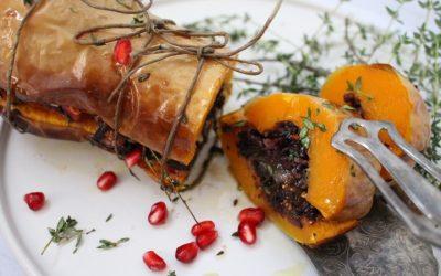דלורית ממולאת – צלויה בתנור במלית אורז אדום ושחור, בצלים, פירות מיובשים ופיצוחים מקורמלים