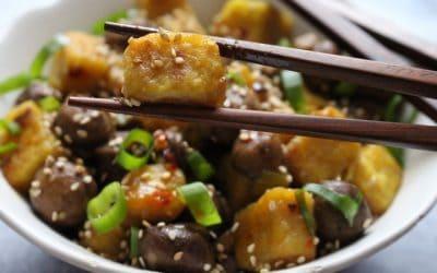מאפו טופו חומוס (בורמזי) – ביתי עם פטריות Vegan Mapo Tofu