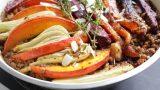 קדירה טבעונית, נטולת גלוטן, עם אורז אדום ומלא עגול, עדשים ושאר ירקות, צבעים ושורשים